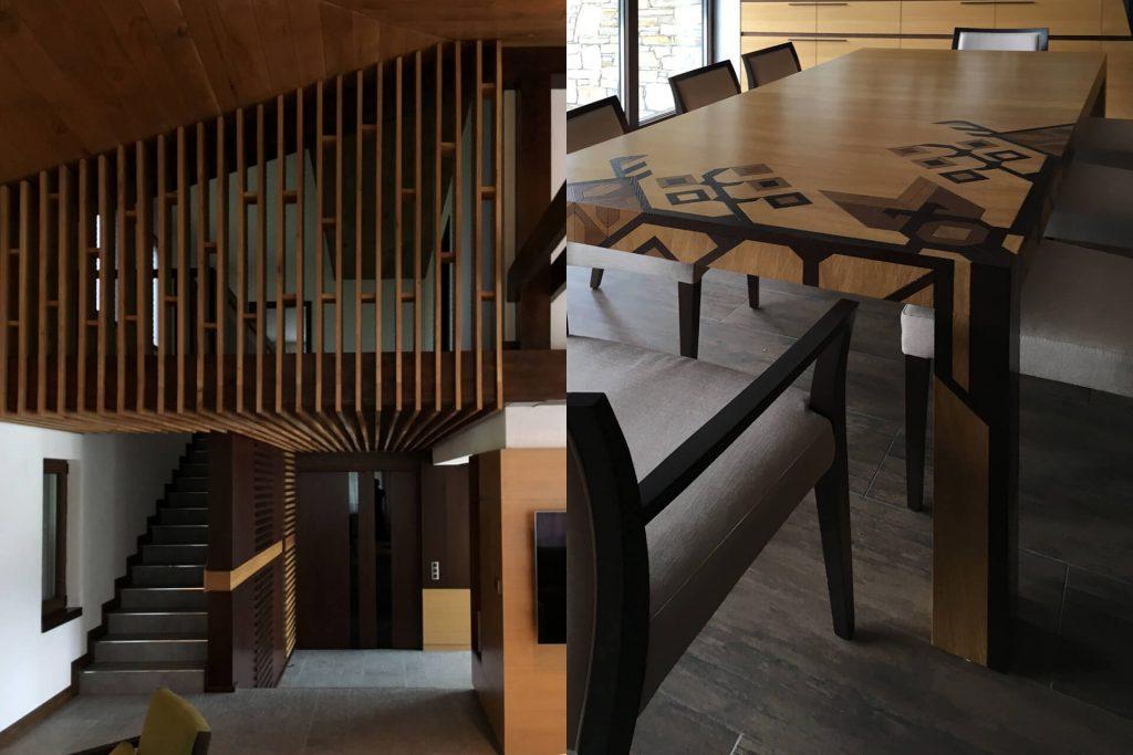 Дървена маса в български традиционен стил с шевици и дизайн на стълбище