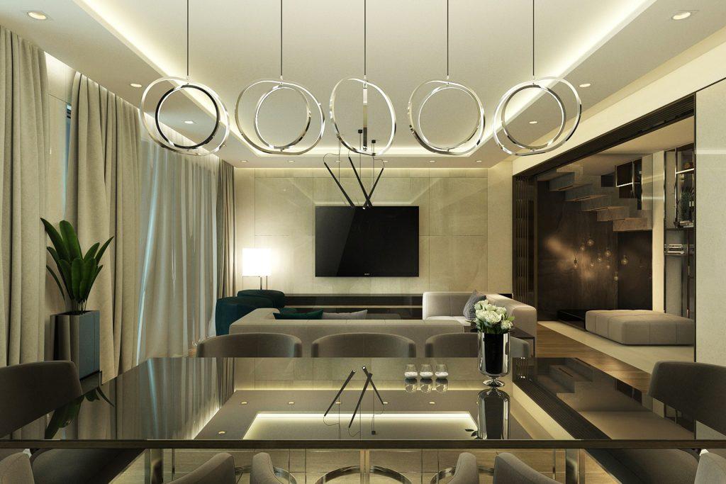 Интериор на дневна и кухня в апартамент в Русе